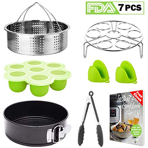 Tecvinci 7 Pcs Accessories Set Compatible with Instant Pot 5,6,8 Qt, Stainless Steel Steamer Basket, Egg Steamer Rack, Food Tongs, Silicone Molds etc. Best Pressure Cooker Accessories with Free recipe