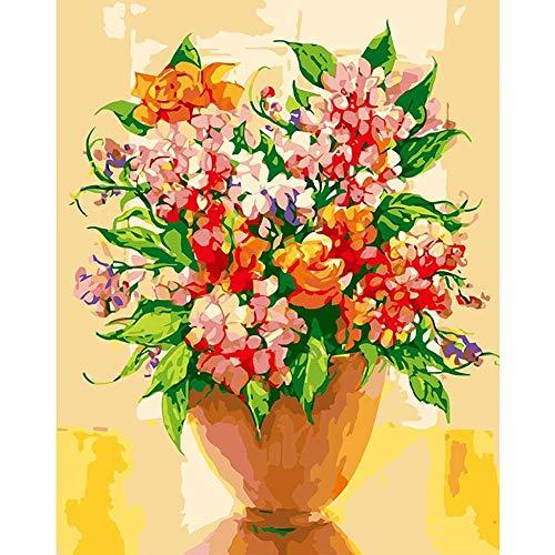 Wzjxzsynl Schilderen op getallen, bloemen in een vaas, doe-het-zelf digitaal schilderen op nummers, moderne kunst, linnen schilderen, cadeau voor kinderen, wooncultuur