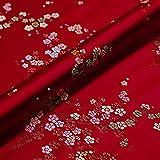JAYHA Rotwein Brokatstoff mit Chinesischer Jacquard Blumen