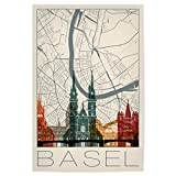 artboxONE Poster 30x20 cm Städte Retro Map Basel and