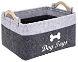 Brabtod Dog Toys Storage Bins, Storage Baskets Felt Bins, Collapsible Bins Containers for Nursery Toys, Kids Room, Towels, Clothes-Gray/Lightgray