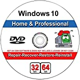 Windows 10 Home and Professional Compatible 32/64 Bit DVD. Recover, Repair, Restore or Install Windows To Factory Fresh