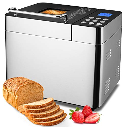 Bread Machine Maker 2LB Stainless Steel Baking Machine 25in1 Dough Mixing Machine with Nonstick Ceramic Pan, Digital Touch Panel 3 Loaf Sizes 3 Crust Colors Reserve & Keep Warm Set