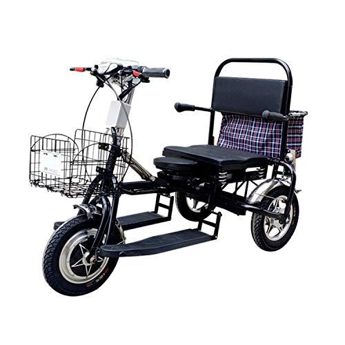 JHKGY Scooter eléctrico Plegable de Movilidad de 3 Ruedas -Triciclo portátil para...
