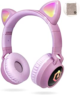 PowerLocus Wireless Bluetooth Headphones for Kids, Kid Headphone Over-Ear with LED Lights, Foldable Headphones with Microp...