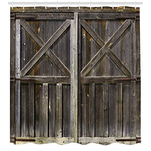 Rustikaler Holzbrett-Duschvorhang Planke Duschvorhänge Grunge Planken Scheunenhaus Tür wasserdichter Stoff Badezimmer Dekor 183 x 183 cm Kunststoffhaken 12 Stück