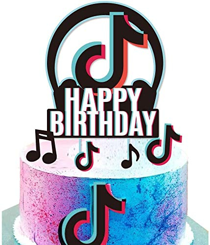 TIK Tok Theme Happy Birthday Party Cake Topper Kit