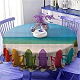 EMODFJCXZ Ocean Decor Collection Tablecloth - 54 Inch Waterproof Backing Round Tablecloth Colorful Sunbeds Beach Picture Seaside Coastal Summer Artwork Prints Easy to Clean BluePinkPurpleYellow