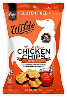 Buffalo Chicken Chips by Wilde Brands, Protein Snack, Made with Real Chicken, Keto Friendly & Paleo Certified, Antibiotic & Gluten Free, 2.25oz Bag (4 count)