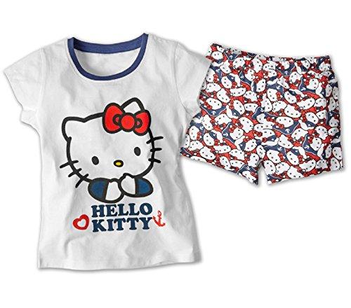 Hello Kitty Kinder Shorty Set Pyjama 100% Baumwolle Nachtwäsche Öko-Tex (110/116)