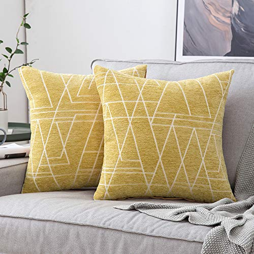 MIULEE Pack of 2 Cushion Covers, Ray Pattern Decorative Square Throw Pillow Case Luxury Pillowcases for Couch Livingroom Sofa Bed with Invisible Zipper 45cm x 45cm,18x18 Inches, 2 Pieces Yellow