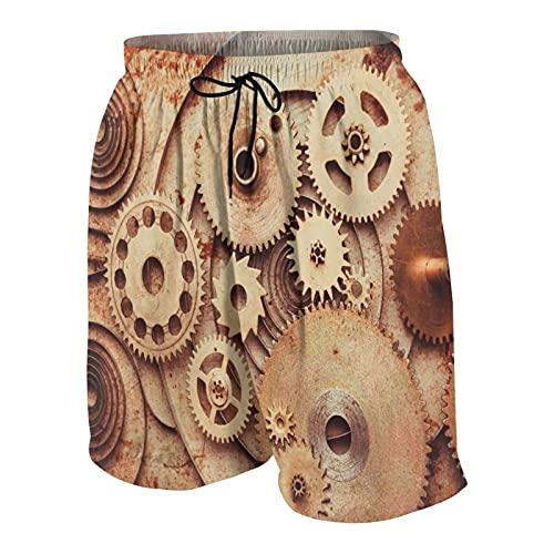 KOiomho Hombres Personalizado Trajes de Baño,Detalles Relojes Mecánicos con Fondo Aspecto Antiguo Oxidado Engranajes Diseño Steampunk,Casual Ropa de Playa Pantalones Cortos