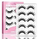 3D Faux Mink Lashes, TINGESHINE eyelashes High Volume Fluffy Handmade Dramatic False Eyelashes Set Reusable Soft 5 Pairs Fake Lashes Pack