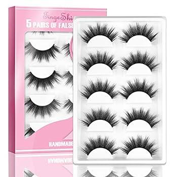 3D Faux Mink Lashes TINGESHINE eyelashes High Volume Fluffy Handmade Dramatic False Eyelashes Set Reusable Soft 5 Pairs Fake Lashes Pack