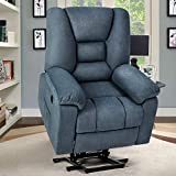 oneinmil Electric Power Lift Recliner Chair for Elderly, Fabric Home Massage Sofa Chairs with Heat, Remote Control, 3 Positions, 2 Side Pockets and USB Ports, Home Theater Chair, Cloth, Blue Grey