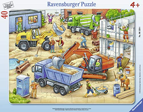Ravensburger Kinderpuzzle 06120 - Große Baustellenfahrzeuge - Rahmenpuzzle