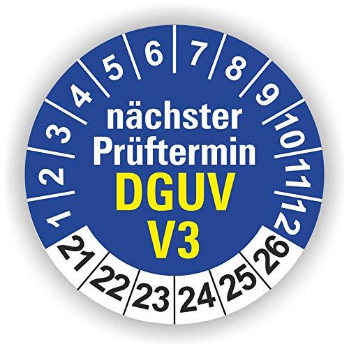 5-1.000 Stück Prüfplaketten Prüfetiketten Wartungsetiketten DGUV V3Prüfung Ø 20mm (Blau 10 Stück)