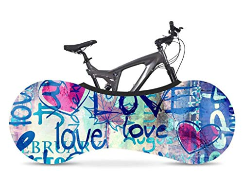 Manual Bike Wheel Covers - Blue Love - Bicycle Indoor Storage Cover, Washable Indoor Mountain Bike Cover, Washable Bicycle Storage Cover, Wheel Pant Chains Garage Fits 99% Adult Bicycles