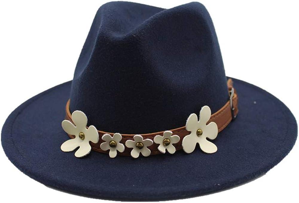 MUMUWU Top Hat Jazz Hats Fedora Hat Wool 5 Flower Decoration Classical Sombrero Autumn and Winter Women's Fedora