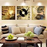 Vintage Poster Musical Instrument Home Decor Wall Pictures for Living Room Canvas Painting Wall Art Canvas Prints Picture 30x30cmx3p No Frame