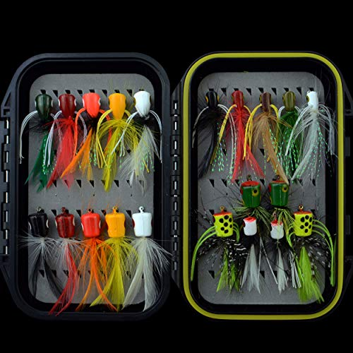 Fly Fishing Flies Kit Fly Assortment Trout Bass Fishing with Fly Box, with Dry/Wet Flies, Nymphs, Streamers,Fly Poppers (pop21)