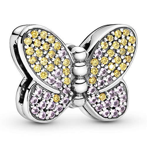 Pandora Abalorio de clip con diseño de mariposa con circonita cúbica de miel y cristal rosa rosa.