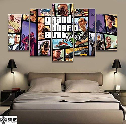 Murturall 5 stuks afdrukken op canvas, GTA 5 spel canvas schilderij moderne muurkunst foto's wooncultuur poster 150x80cm