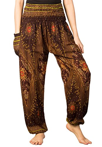 LOFBAZ Harem Pants for Women Yoga Boho Hippie Clothing Bohemian Palazzo Beach Maternity Pajama Gypsy Indian Travel Clothes Floral 1 Brown XL