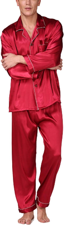 Men's 2 Piece Pajamas Set Plus Size Silk Satin Long Sleeve Button Down Classic Sleepwear Nightwear
