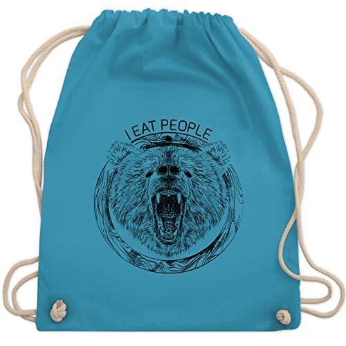 Shirtracer Wildnis - I Eat People Bear - Unisize - Hellblau - Statement - WM110 - Turnbeutel und Stoffbeutel aus Baumwolle