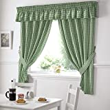 Gingham Kitchen Curtains Green 46 x 42