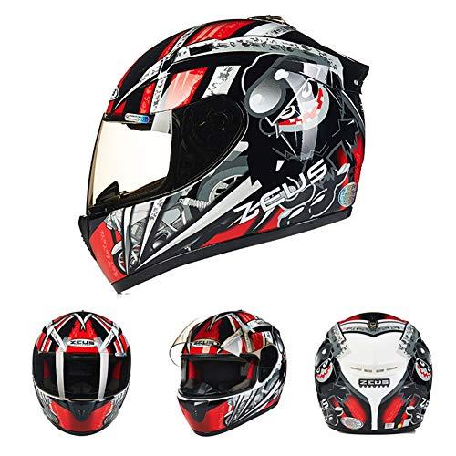 Goolife Moto Crash Casco Modular De Alta Seguridad-Zeus Full Face Racing Casco De Moto para Adultos Hombres Mujeres