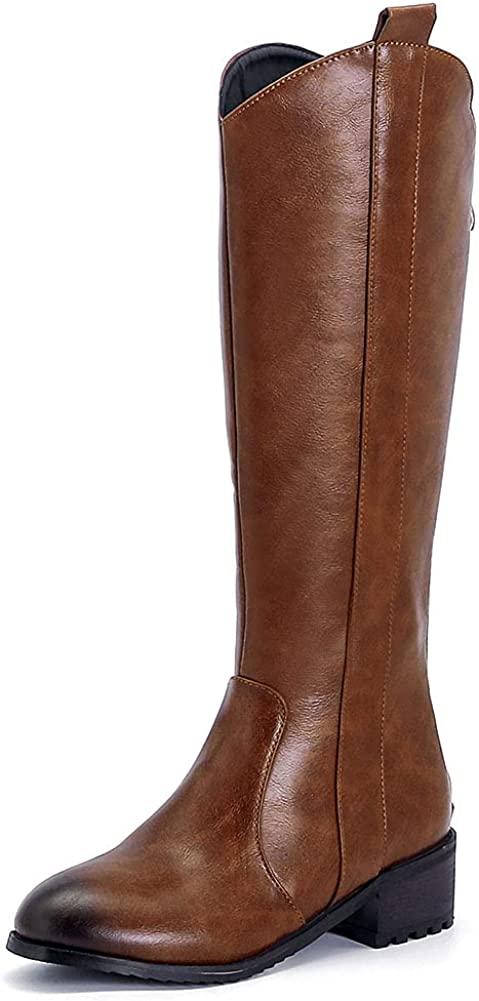 VIMISAOI Women's Knee High Boots Back Heel Limited Special Price Max 42% OFF Chunky Mid Riding Zip