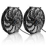 Juego de 2 ventiladores de refrigeración para radiador eléctrico de 12 pulgadas, 1550 CFM, kit de montaje universal de ventilador de motor delgado, 12 V 80 W (diámetro 29,8 cm profundidad 6 cm)
