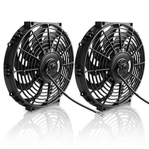 "(Pack of 2) 12"" Electric Radiator Cooling Fan Assembly Kit 1550 CFM Universal Slim Engine Fan Mounting Kit 12V 80W(Diameter 11.73"" Depth 2.36"")"