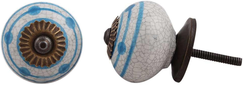 IndianShelf Handmade 10 Piece bluee Stripe Dotted Crackle Decorative Dresser Knobs Cabinet Pulls