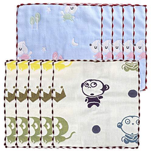 Baby Musselin Waschlappen 10 stk 100% Natürliche Baumwolle Baby Badetücher Baby Weiche Neugeborene Baby Gesichtstücher Mehrzweck Mini Baby Handtücher Blau& weiß