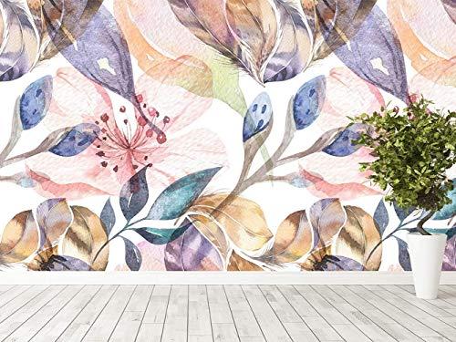 Oedim Papel Pintado para Pared Flores Acuarelas con Textura | Fotomural para Paredes | Mural | Papel Pintado | 200 x 150 cm | Decoración comedores, Salones, Habitaciones