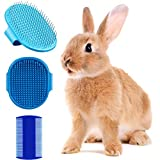 3 Pieces Rabbit Grooming Kit Including Pet Hair Remover Rabbit Grooming Brush, Pet Shampoo Bath Brush with Adjustable Ring Handle and Double-Sided Pet Comb for Rabbit, Hamster, Bunny and Guinea Pig