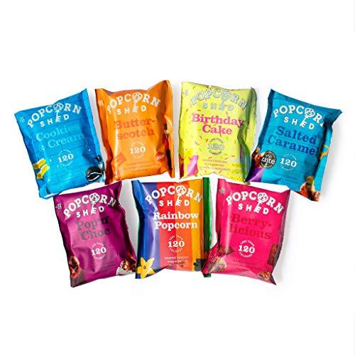 Popcorn Shed – 7 Sabores Fiestas de Palomitas de Maíz, Premium Snacks Naturales, El regalo hermoso de palomitas de maíz, Perfecto para Noches de Cine (7 bolsas)