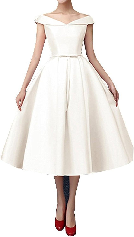 STDRESS Women's VNeck Tea Length Formal Party Prom Bridesmaid Dress
