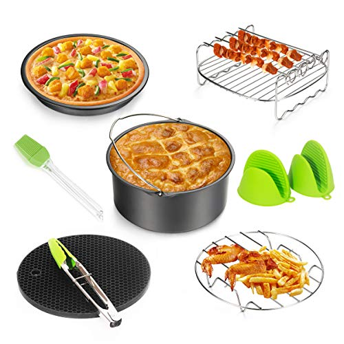 Air Fryer Accessories 8pcs for Gowise Phillips Cozyna Ninja All Standard Air Fryer(3.7QT-5.3QT)with Cake Barrel,Pizza Pan,Metal Holder,Skewer Rack,Silicone Mat,Silicone Brush,Food Tongs,Oven Mitts(Black)
