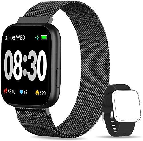 BANLVS Smartwatch, 1.4 Inch Reloj Inteligente IP67 con Pulsómetro Presión Arterial, Monitor de Sueño Podómetro Contador de Caloría, Smartwatch Mujer Reloj Inteligente para Hombre Mujer