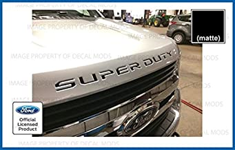 Decal Mods (2017-2019 Hood Grille Decal Sticker Letter Inserts Inlays for Ford F250 F350 F450 Super Duty - Black (Matte) - CBM Decals Stickers