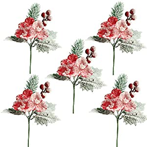 mufen artificial frosted pine branches twig snow covered berries and pick christmas halloween/thanksgiving decoration holiday table supplies decor (red) silk flower arrangements
