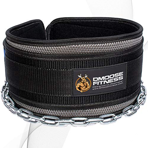 DMoose Fitness Dip Belt with Chain for Weightlifting, Pullups, Powerlifting, Crossfit, and Bodybuilding Workouts, Long Heavy Duty Steel, Comfortable Neoprene Waist Support