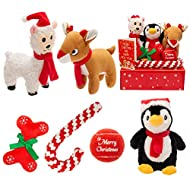 SCIROKKO 6 Pack Christmas Dog Squeaky Toys - Cute Penguin, Reindeer, Alpaca, Bone Plush Toy, Rope and Tennis Ball for Small Dog