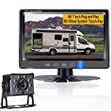 RV Backup Camera System with 7 Inch Touch Key Screen for RV,Trailer,Tractor,Van, Camper One Power Rear View Observation System,DIY Support 2nd License Plate Camera for Car,Truck LeeKooLuu G2
