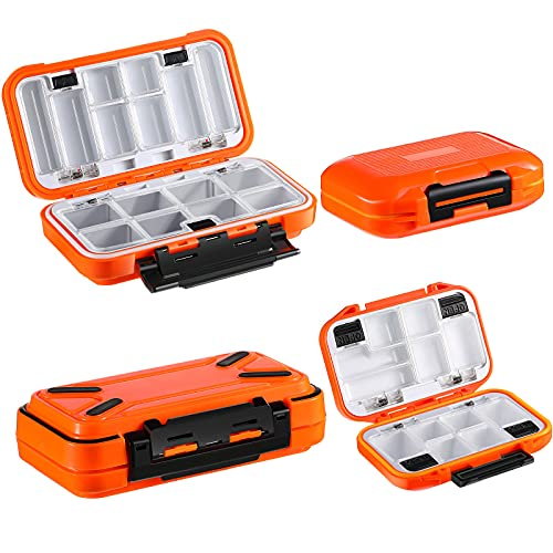 2 Pieces Mini Fishing Vest Box Waterproof Fishing Tackle Box Mini Utility Fishing Lures Box Small Organizer Box Containers for Trout, Jewelry, Bead (Orange)