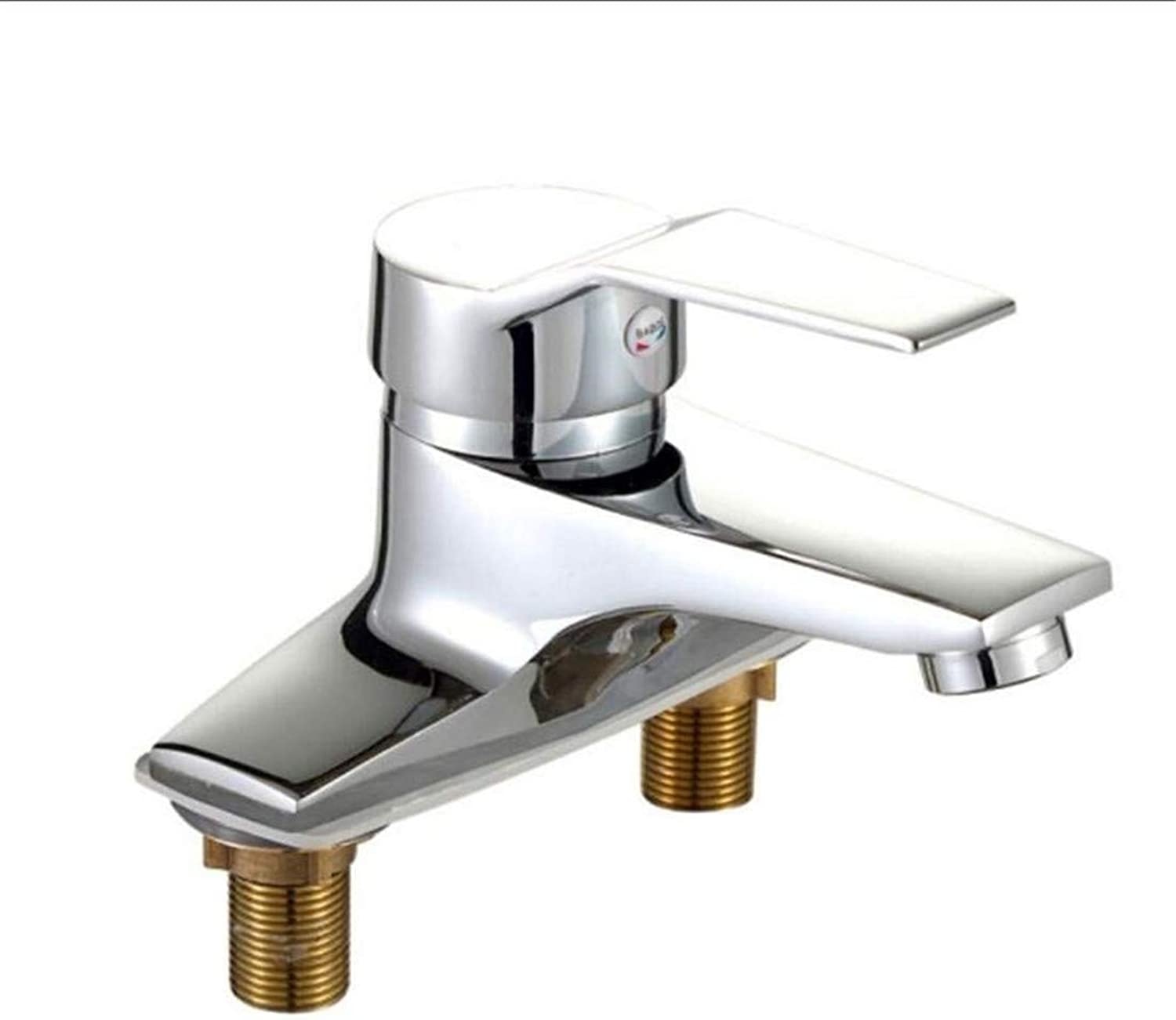 Vintage Chrome Brass Kitchen Taps Copper Cold and Hot Water Faucet Face Basin Faucet Double Hole Washbasin Faucet